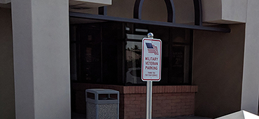 Military Veteran Parking Sign at Credit Union West Arrowhead