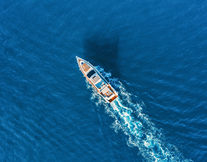 Overhead view of boat in water