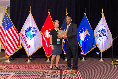 Credit Union West President Karen Roch receiving the Air Force Credit Union of the Year Award.