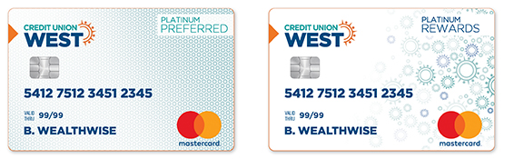 Credit Union West Credit Card samples