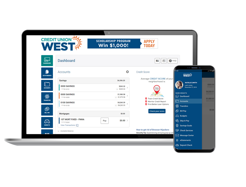 screenshots of Online Banking and Mobile App